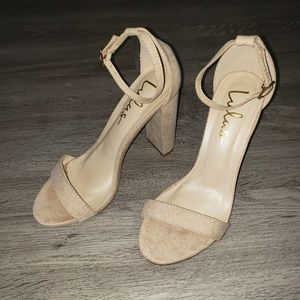 Lulu's Taylor Natural Suede Ankle Strap Heels